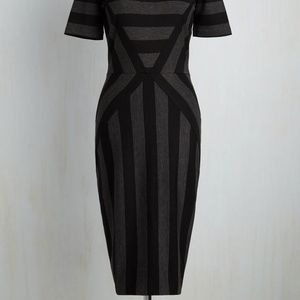 Dresses & Skirts - Modcloth grey and black striped midi dress